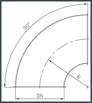Koleno R = 1 x DN