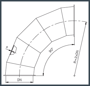 Koleno R=2 x DN